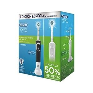 Duplo Cepillo Electrico Recargable Oral-B Vitality Cross Action Edicion Black & White