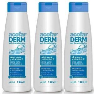 3 x Gel Dermatólogico Acofarderm con Aloe Vera y Vitamina E 1 Litro